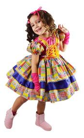 Vestido Festa Junina Caipira Infantil Luxo Armado + Luva