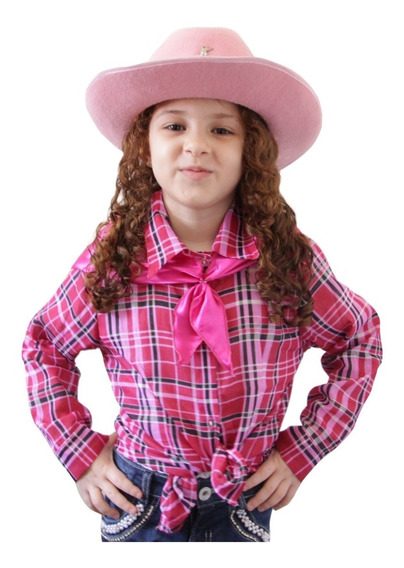 Camisa Xadrez Festa Junina Caipira Feminina Infantil Criança