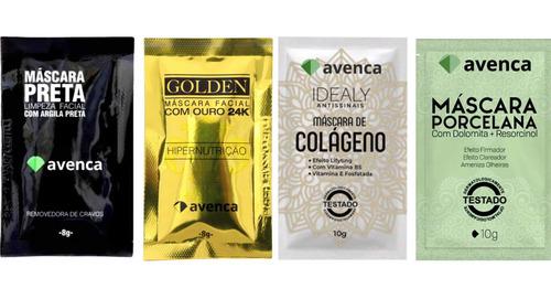 Avenca Kit Máscara Colágeno, Porcelana, Golden E Black