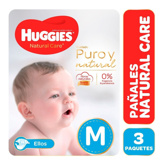 Pañales Huggies Natural Care Puro Y Natural Ellos Pack X 3