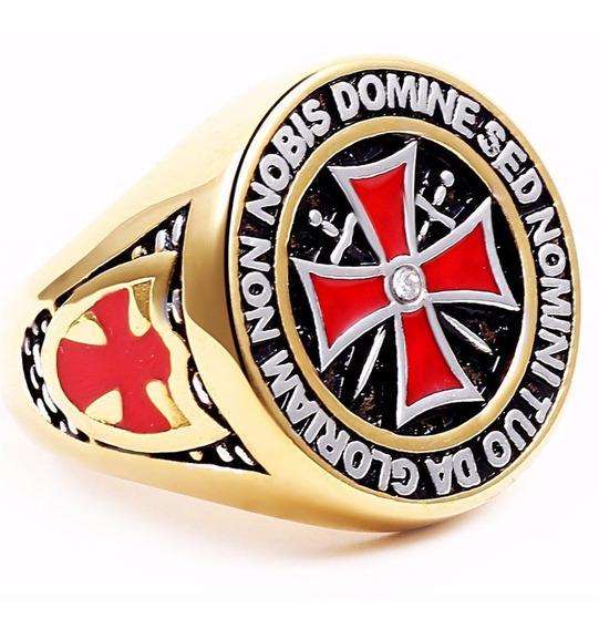 Anel Aço Inox Templário Cruz Malta Ordem Cavaleiro Maçon Pc