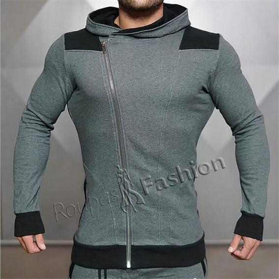 Blusa Masculina Moletom Ziper Manga Longa Frio/inverno Bolso