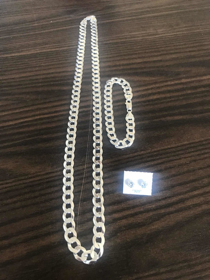 Conjunto 10mm Grumet Escama Prata 925 Pulseira 10mm Luxo 925
