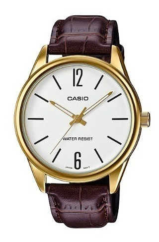 Relógio Casio Masculino Analógico Dourado Couro Marrom