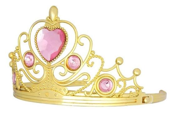 Corona Dorada Tiara Tocado Princesa Reina Rosa Diamante Niña