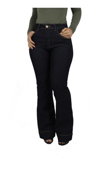 Calça Jeans Feminina Flare Plus Size Cintura Alta Linda