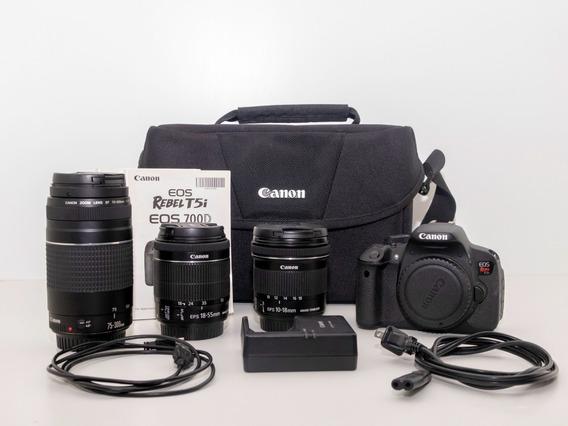Kit Fotografia Canon T5i + Lentes 10-18 / 18-55 / 75-300 Mm