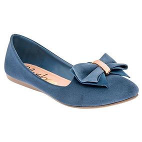 Flats Rosa / Azul Para Mujer Con Moño