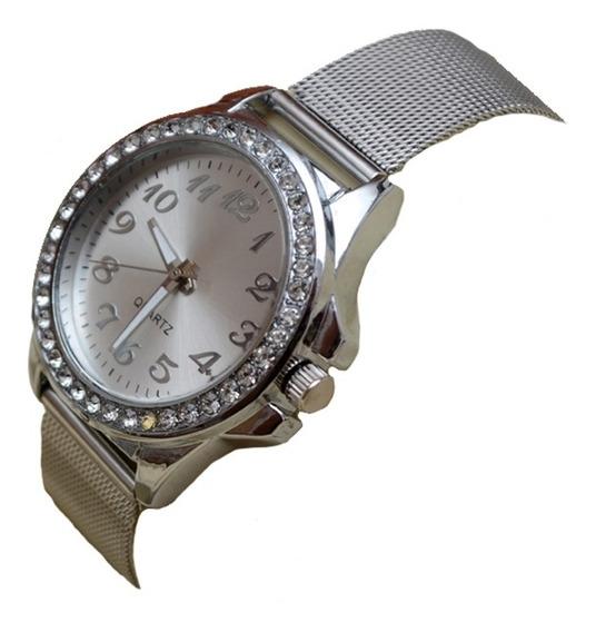 Relógio Quartz Em Metal Inoxidável Feminino - Prata