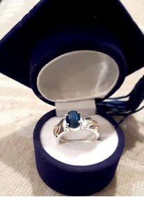 Anel De Formatura Prata Com Pedra Zircônia Cor Azul Safira