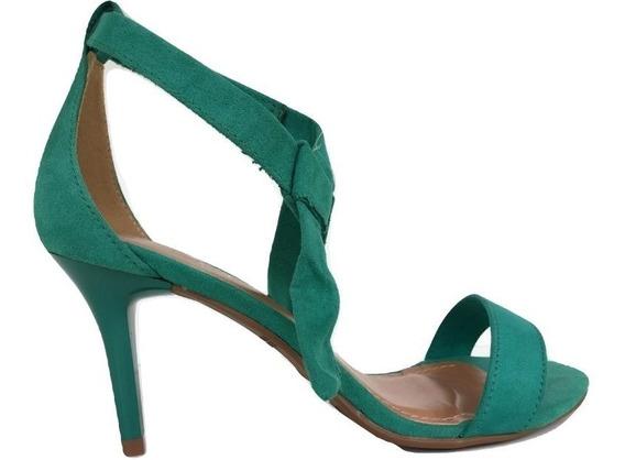 Sandália Feminina Salto Fino Verde De Laço 2968513