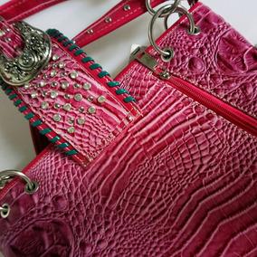 Bolsa De Luxo Country Cowgirl Rosa Couro Legitimo (2)