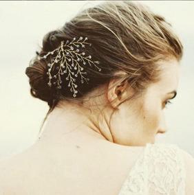 Arranjo Dourado Com Cristais Violeta - Noiva Romântica 1844