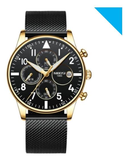 Relógio Nibosi Original Lançamento Malha Aço Lxbr 08 Modelos