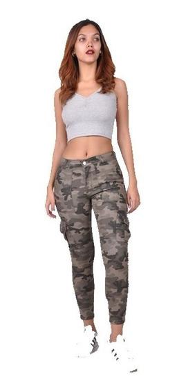 Jean Pantalón Mujer Camuflado Chupin Tiro Alto Elastizado