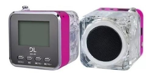 Som Portátil Dl Ms40 Mp3 Com Rádio Fm E Relógio Novo Rosa