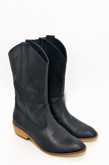 Bota Texana Mujer Alta Con Costuras,cuero,moda,1316gr
