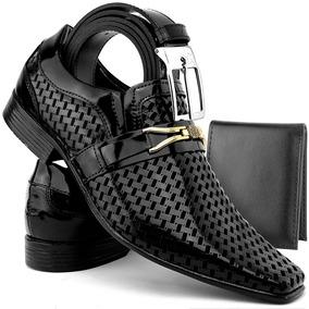 f9f436adc Sapato Social Masculino Couro Envernizado Kit Cinto+carteira