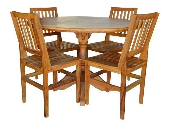 Jogo De Mesa Redonda De Madeira E 4 Cadeiras Cambury