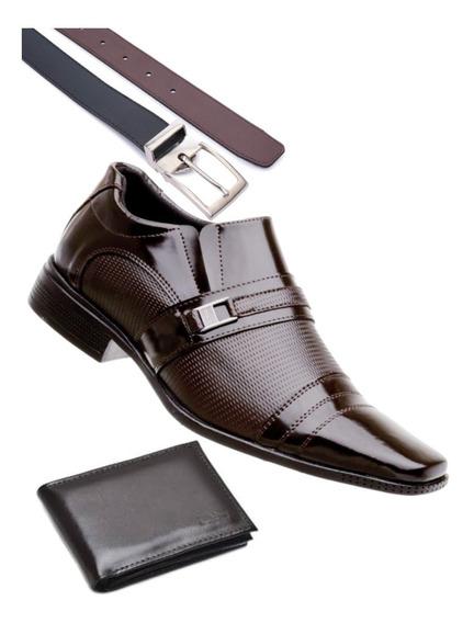 Sapato Social Masculino Cinto + Carteira Brinde
