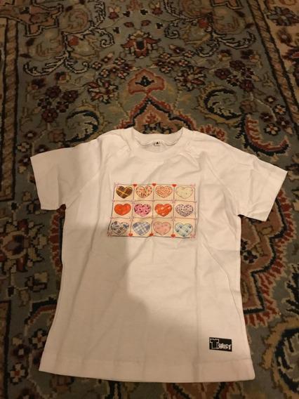 Camiseta Infantil 4 Branca Com Estampa Na Frente Algodão