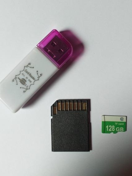 Cartão Micro Sd 128gb Smartphone C/ Adaptador E Leitor.