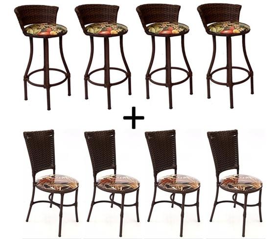 Conjunto Cadeira Cozinha E Banqueta Alta Em Fibra Sintetica