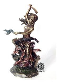 Escultura De Oya Orisha En Fina Resina Con Baño De Bronce