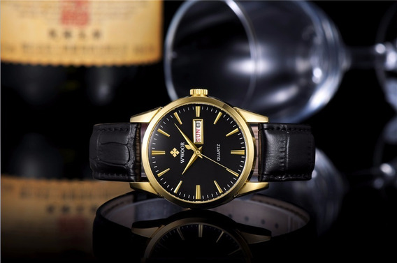 Relógio Fino Wwoor Original Gold Luxo Promoção
