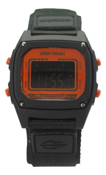Relógio Masculino Digital Quadrado Preto E Laranja Mormaii