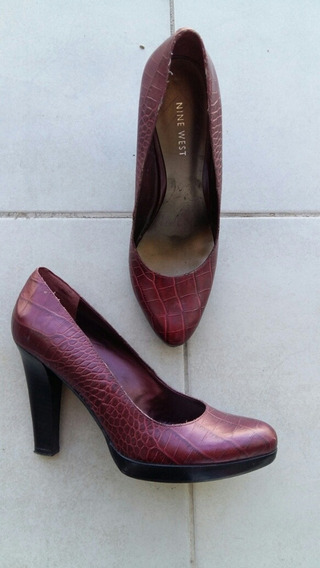 Zapatos Mujer Stilettos 39 Nine West Borgoña Y Negro