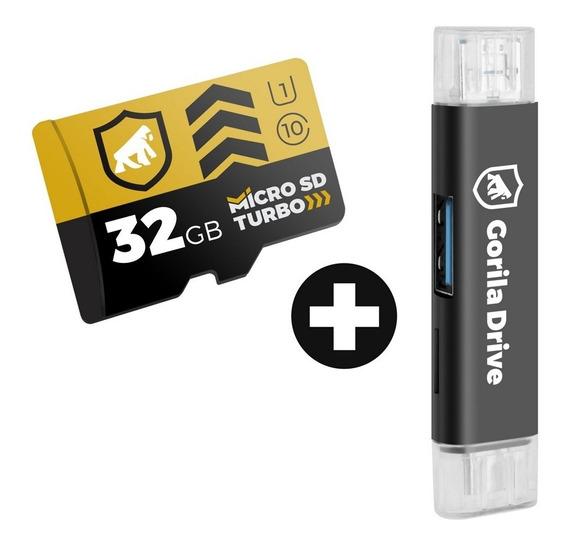 Cartão De Memória Turbo 32gb + Adaptador Otg Micro Usb - Gs