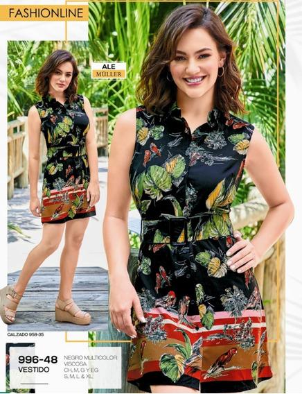 Vestido Negro Multicolor 996-48 Cklass Primavera-verano 2020