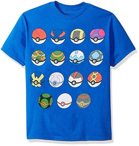Camiseta Manga Corta De Pokebolas Para Niño Talla L-14/16