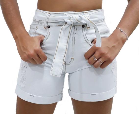 Bermudinha Jeans Cós Alto Feminino Destroyed Rasgada