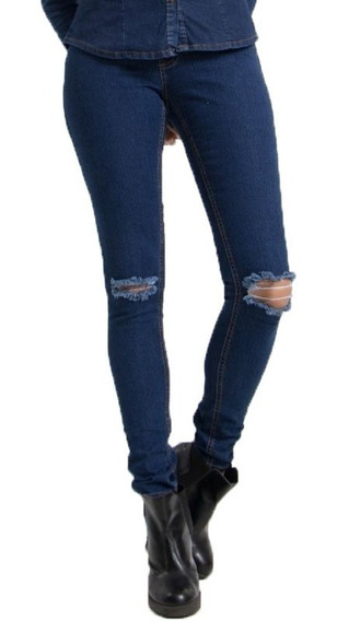 Calça Destroyed Jeans Cintura Média Lady Rock