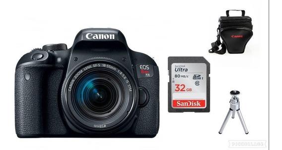 Câmera Canon Rebel T7i Dslr Lente 18-55m+32gb+bolsa+tripé