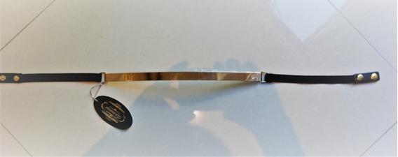 Cinturon Fino Metal Espejo Resorte Beige De 2.5 Cm