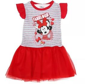 e07b75913 Vestido De Minnie Manga Corta Con Tul Hermoso Diseño Colores