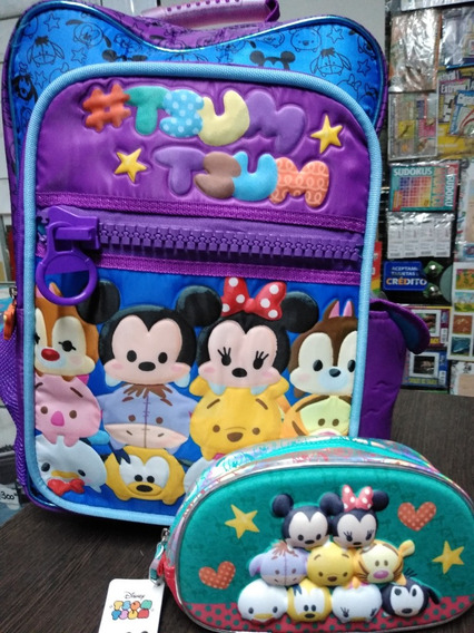 Mochila Con Luz Tsum Tsum Disney + Cartuchera Cresko