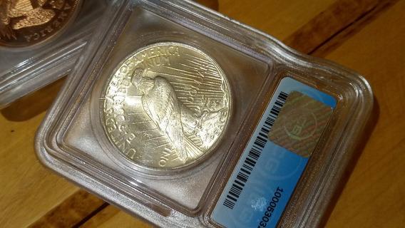 Moeda De Prata Antiga Estados Unidos Dólar Certif Pcgs Ms65