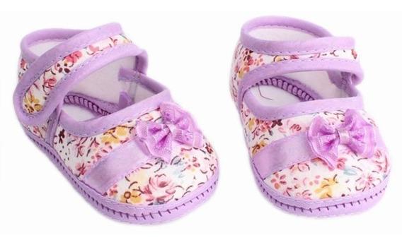Sapatinho Sapato De Bebê Tênis Florido Para 3-6 Meses Idade