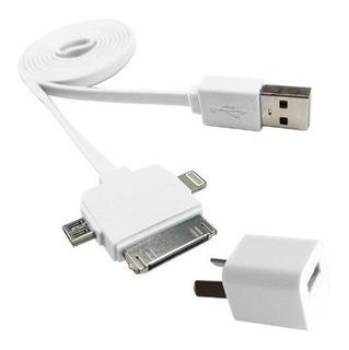 Cargador Usb + Cable 3 En 1 Micro Usb Lightning Noga Ng-633