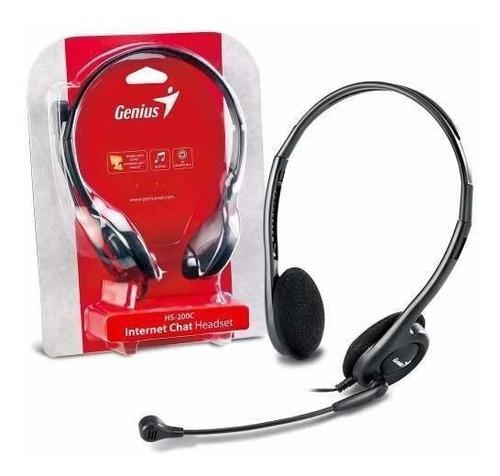 Diadema Con Microfono Doble Plug 3.5mm Genius Hs-200c