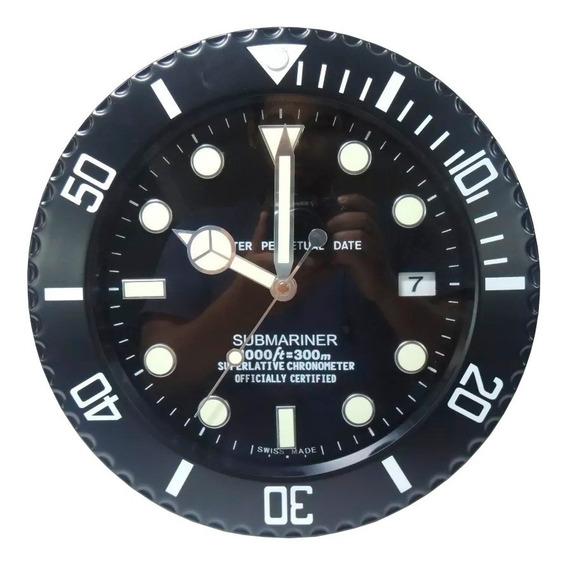 Relógio De Parede Decorativo Calendário Aço Inox Submariner