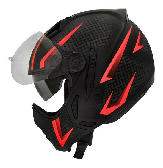 Capacete Moto Peels Mirage Storm Preto Vermelho