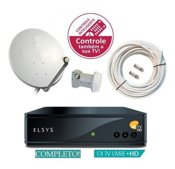 Kit Elsys Oi Tv Livre Receptor Etr44 Antena Ku Duplo & Nfe