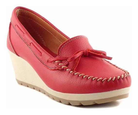 Mocasin Zapato Mujer Cuero Briganti Taco Chino - Mcmo03635