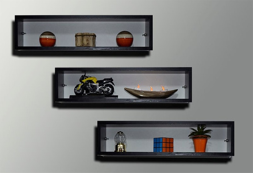 3 Nichos Decorativos De Parede Mdf Preto 15mm Quarto Sala