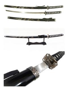 Espada Katana Tamanho Real Dragão Samurai Aço Suporte 101cm